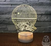 Светильник 3D Сокол Тысячелетия у Звезды Смерти (300-017-00-1)