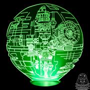 """Светильник 3D """"Звезда Смерти в разрезе"""" (300-017-00-3), зелёное свечение"""