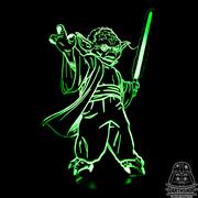 Светильник с эффектом 3D Йода с мечом (300-018-20-2), зелёное свечение